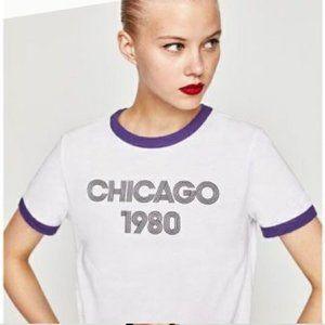 ZARA Women Chicago 1980 Tee | S NWOT